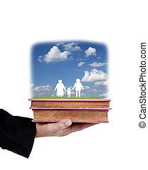 affär, hålla lämna, böcker, med, papper, familj, isolerat, vita