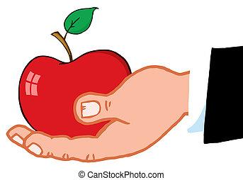 affär, hålla lämna, rött äpple