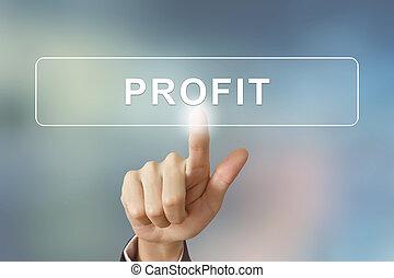 affär, hand, klickande, profit, knapp, på, suddig fond