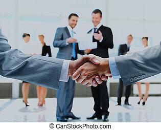 affär, handslag, och, affär, folk.