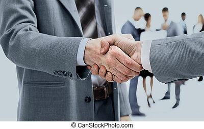 affär, handslag, och, affärsfolk