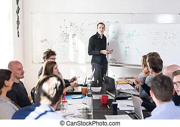 affär, informell, företag, lag, start, den, meeting., avslappnad