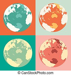 affär, klot, maps., vektor, värld, bakgrund., illustration.
