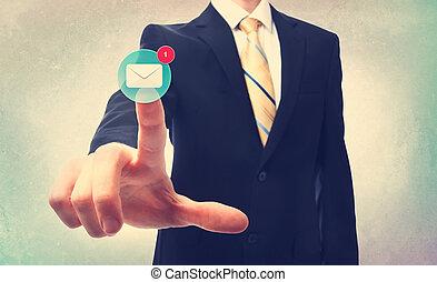 affär, knapp, suddig, tränga, bakgrund, email, man