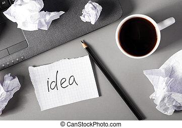 affär, kreativitet, begrepp
