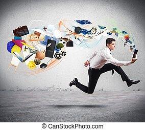 affär, kreativitet, med, spring, affärsman
