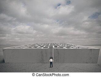 affär, labyrint, utmaning