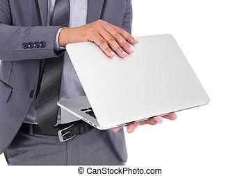 affär, laptop, isolerat, bakgrund, passa, vit, man