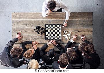 affär, leka, folk, schack