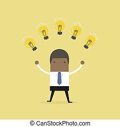 affär, många, concept., ideas., affärsman, afrikansk, färsk