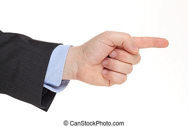 affär, mannens, hand peka rättvist