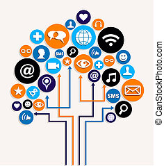 affär, media, träd, plan, social, knyter kontakt