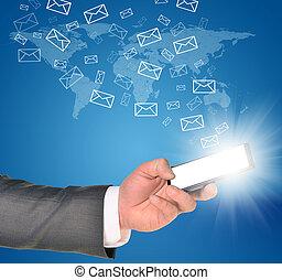 affär, mobil, inom, hand, ringa, användande, man, vänster