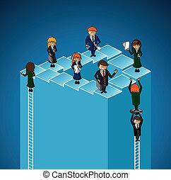 affär, nivåer, folk., grupp arbete, framgång