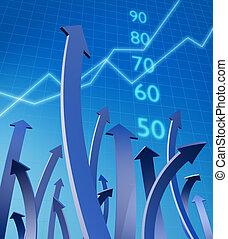 affär, och, finansiell tillväxt, begrepp