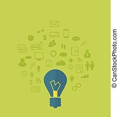 affär, olik, infographic, lägenhet, idé, föreställning ikon
