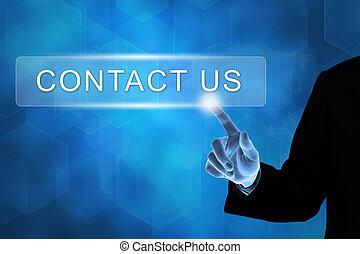 affär, oss, pressande, kontakta, hand, knapp