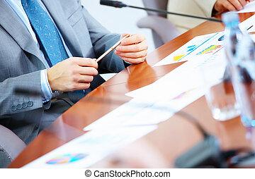 affär, papper, på bordet