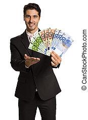 affär, pengar, /, holdingen, euro, man