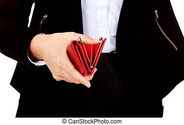 affär, plånbok, kvinna räcka, tom