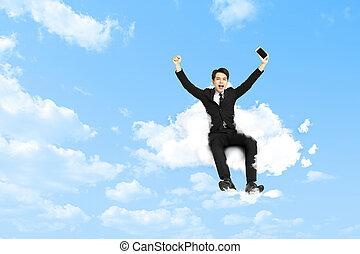 affär, sittande, ung, lycklig, moln, man