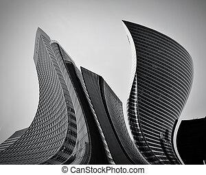 affär, skyskrapor, abstrakt, begreppsmässig, arkitektur