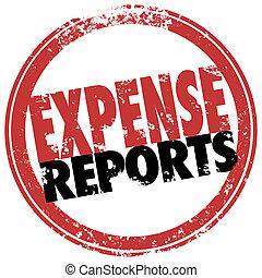 affär, stämpel, reimburse, kostar, rapport, bekostnad, röd