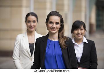 affär, Stående, tre, kvinnor