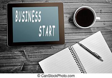 affär, start, ord