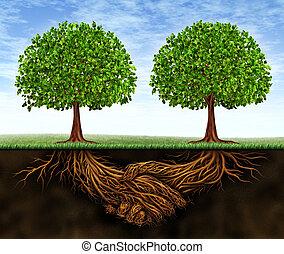 affär, teamwork, tillväxt