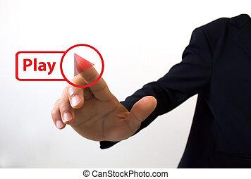 affär, toucha, pressande, man, hand, knapp