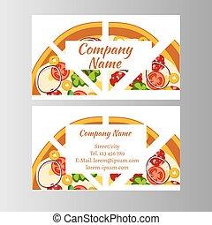 affär, två, delivery., mall, kort, pizza