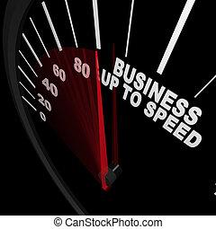 affär, uppe, till, hastighet, -, hastighetsmätare, mått, tillväxt