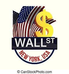 affär, utbyte, vägg, pengar, gata, york, färsk