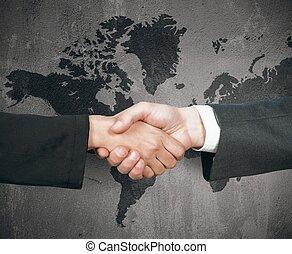 affär, värld, handslag