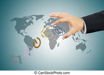 affär, värld, in, hand
