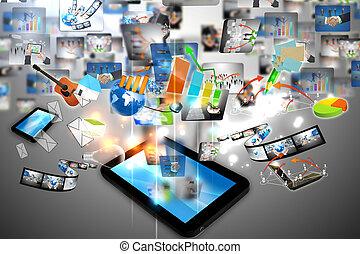 affär, värld, på, skrivblock persondator