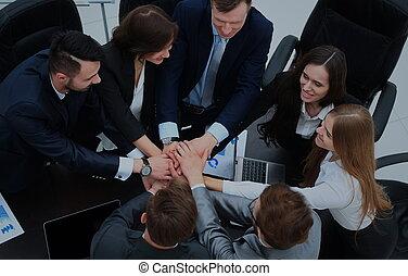 affär, visande, lag, tillsammans, deras, enhet, räcker