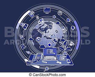 affär, world., illustration, omkring, om, affisch, befordrings-