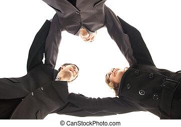 affärsfolk, över, enhet, bakgrund, vit