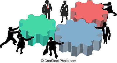affärsfolk, arbete, tillsammans, plan, teknologi