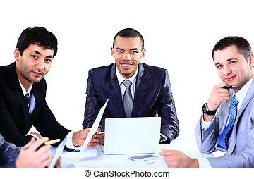 affärsfolk, diskutera, in, a, möte
