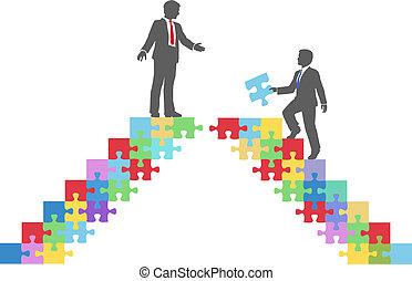 affärsfolk, förena, koppla samman, problem, bro