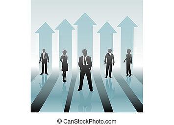 affärsfolk, flyttning, pilar, uppe, lag