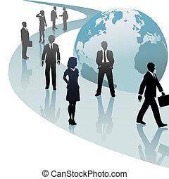 affärsfolk, framtid, framsteg, värld, bana