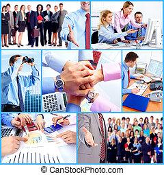 affärsfolk, grupp, collage.