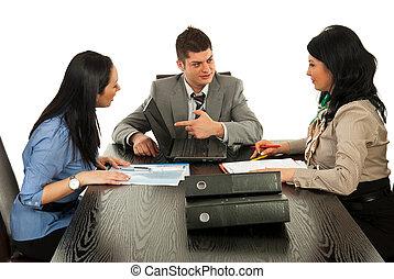 affärsfolk, ha, diskussion