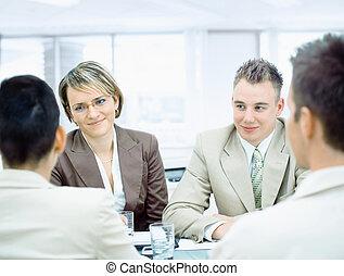 affärsfolk, hos, möte