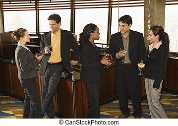 affärsfolk, in, bar.