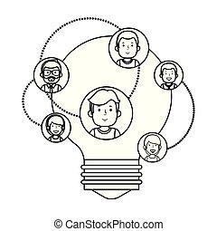 affärsfolk, lätt, idé, gemenskap, lök